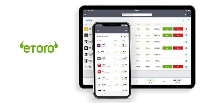 Monitor Desktop e iPhone con logo eToro trading