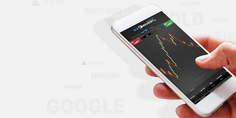 Smartphone con grafico di EzInvest
