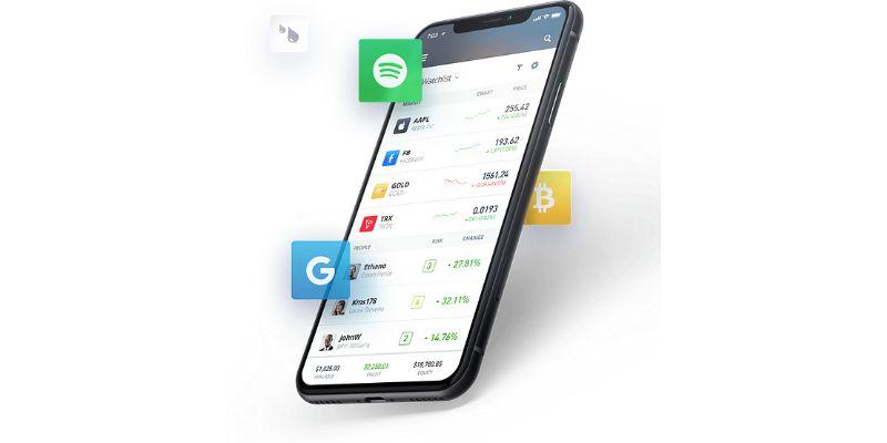 Smartphone eToro trading