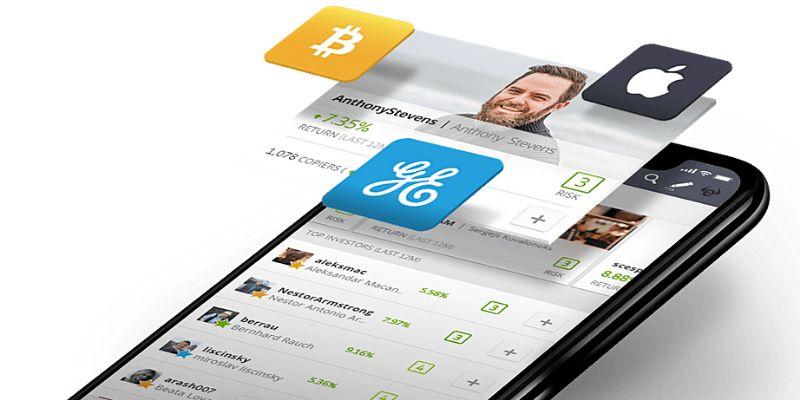 iPhone con schermata di etoro trading